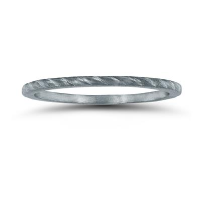 Thin 1MM Rope Center Wedding Band in 14K White Gold