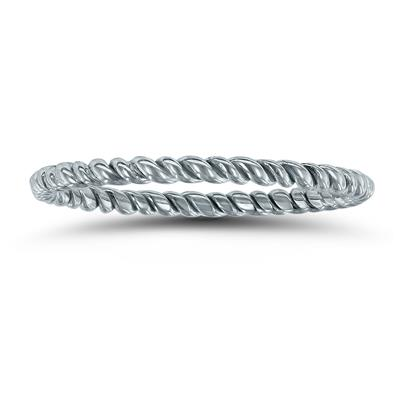 1.5MM Rope Twist Wedding Band in 14K White Gold