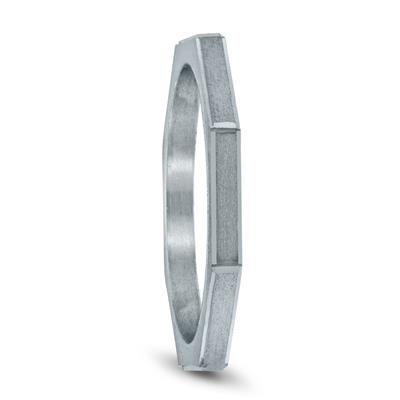 Eight Sided Thin 1.5MM Matte Finish Wedding Band in 14K White Gold