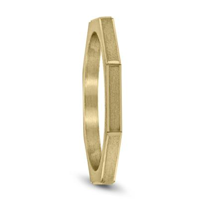 Thin 1.5MM Eight Sided Octagon Hammered Finish Wedding Band in 14K Yellow Gold