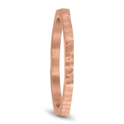 Thin 1.5MM Eight Sided Octagon Hammered Finish Wedding Band in 14K Rose Gold