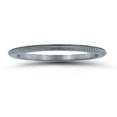 1MM Coin Edge Thin Wedding Band in 14K White Gold