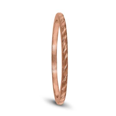 Thin 1MM Rope Center Wedding Band in 14K Rose Gold