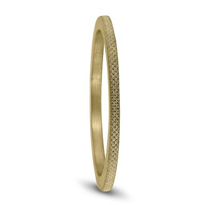 1MM Thin Wedding Band with Cross Hatch Center in 14K Yellow Gold