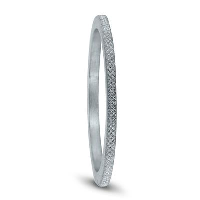 1MM Thin Wedding Band with Cross Hatch Center in 14K White Gold