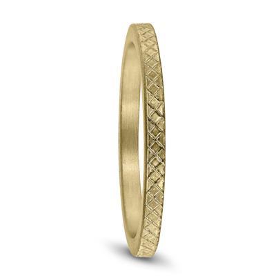 Thin 1.5MM Cross Cut Wedding Band in 14K Yellow Gold