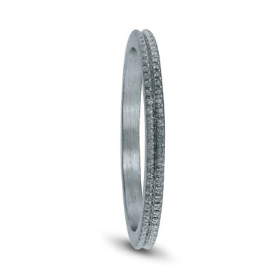 1.5MM Thin Beaded Wedding Band in 14K White Gold