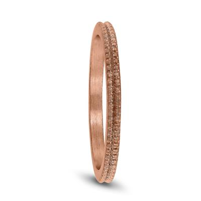 1.5MM Thin Beaded Wedding Band in 14K Rose Gold