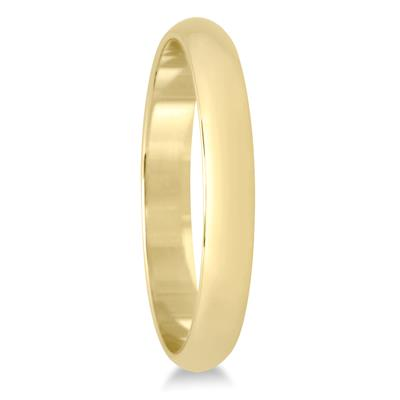 2mm Lightweight Domed Wedding Band in 10K Yellow Gold (Mens or Women