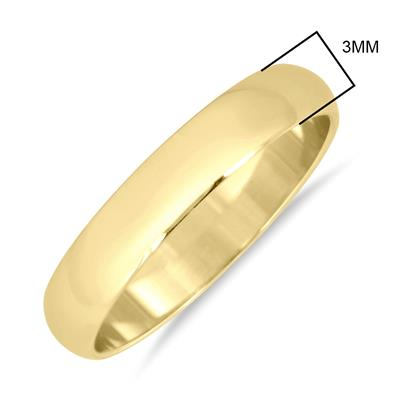 3mm Lightweight Domed Wedding Band in 10K Yellow Gold (Men