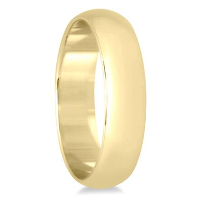 4mm Lightweight Domed Wedding Band in 10K Yellow Gold (Men