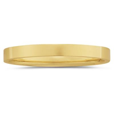 3 mm Plain Flat Comfort-Fit Wedding Band in 14k Yellow Gold