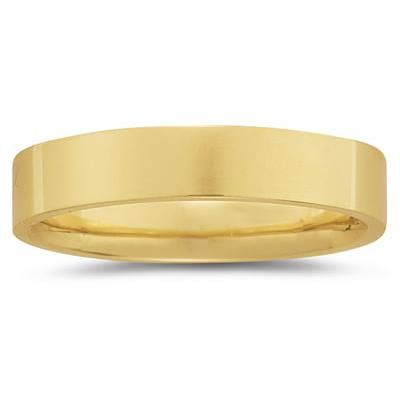 5 mm Plain Flat Comfort-Fit Wedding Band in 18k Yellow Gold