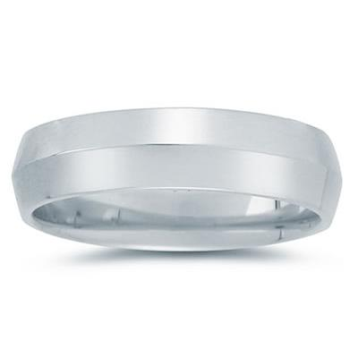 6 mm Knife Edge Comfort-Fit Wedding Band in 18k White Gold