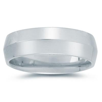 7 mm Knife Edge Comfort-Fit Wedding Band in 18k White Gold