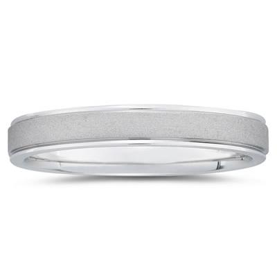 4 mm Brushed Center Comfort-Fit Wedding Band in 18k White Gold