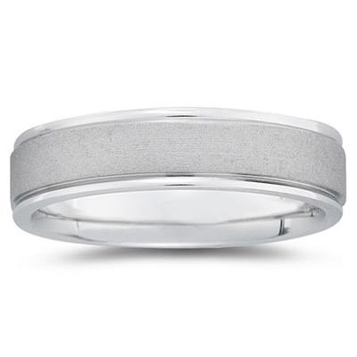 6 mm Brushed Center Comfort-Fit Wedding Band in 18k White Gold