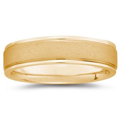 6 mm Brushed Center Comfort-Fit Wedding Band in 18k Yellow Gold