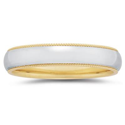 5 mm Two Toned YellowMilgrain Edge Comfort-Fit Wedding Band in 18k Two-Tone Gold