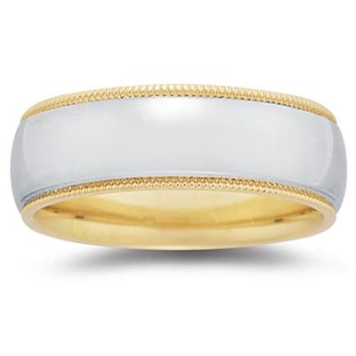 8 mm Two Toned YellowMilgrain Edge Comfort-Fit Wedding Band in 14k Two-Tone Gold