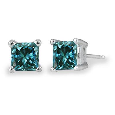 1.00 ct.tw Princess Cut Blue Diamond Solitaire Earrings in 14 kt. White Gold