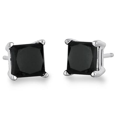 1.00 Carat Black Diamond Princess Cut Stud Earrings in 14K White Gold