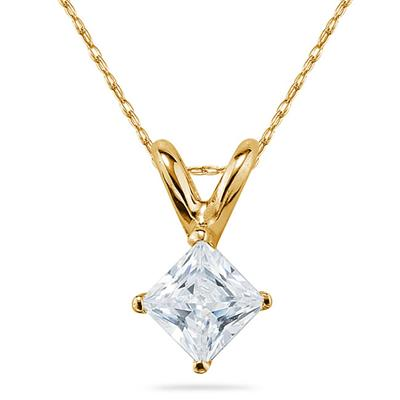 1/7 Carat Princess Diamond Solitaire Pendant in 14K Yellow Gold