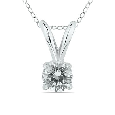 1/10 Carat Round Diamond Solitaire Pendant in 14K White Gold