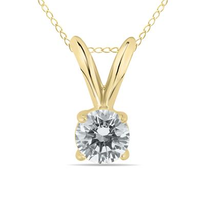 1/10 Carat Round Diamond Solitaire Pendant in 14K Yellow Gold