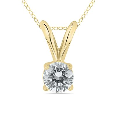 1/7 Carat Round Diamond Solitaire Pendant in 14K Yellow Gold