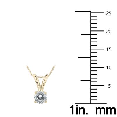 1/5 Carat Round Diamond Solitaire Pendant in 14K Yellow Gold (K-L Color, I2-I3 Clarity)
