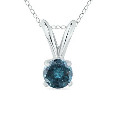 1/4 Carat Round Blue Diamond Solitaire Pendant in 14K White Gold
