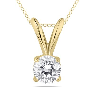 1/4 Carat Round Diamond Solitaire Pendant in 14K Yellow Gold (K-L Color, I2-I3 Clarity)