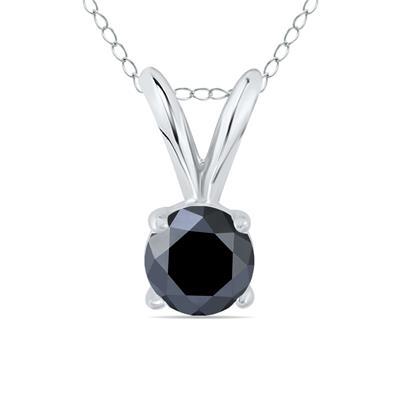 1/3 Carat Round Black Diamond Solitaire Pendant in 14K White Gold