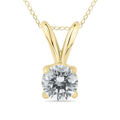 AGS Certified 1/3 Carat Round Diamond Solitaire Pendant in 14K Yellow Gold