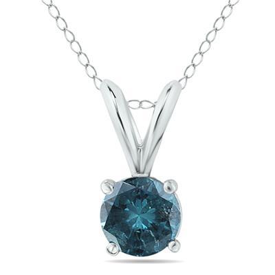 1/2 Carat Round Blue Diamond Solitaire Pendant in 14K White Gold