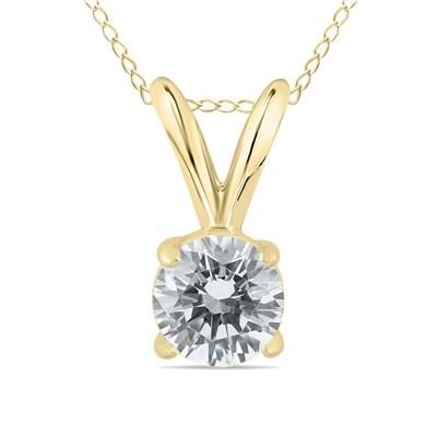 AGS Certified 1/2 Carat Round Diamond Solitaire Pendant in 14K Yellow Gold (K-L Color, I2-I3 Clarity)