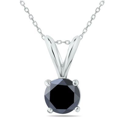 3/4 Carat Round Black Diamond Solitaire Pendant in 14K White Gold