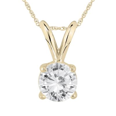 AGS Certified 3/4 Carat Round Diamond Solitaire Pendant in 14K Yellow Gold (I-J Color, I2-I3 Clarity)