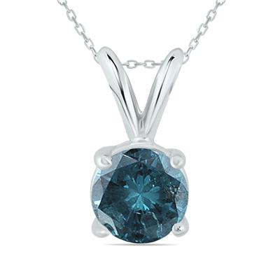 1 Carat Round Blue Diamond Solitaire Pendant in 14K White Gold