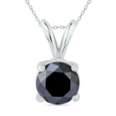 1 1/2 Carat Round Black Diamond Solitaire Pendant in 14K White Gold