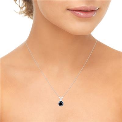 1 1/2 Carat Genuine Round Black Diamond Solitaire Pendant in 14K White Gold