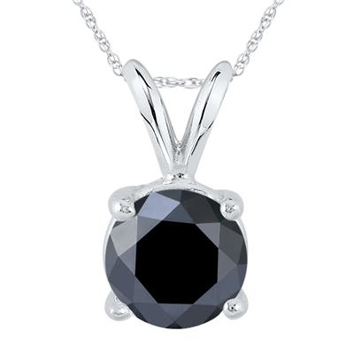 2 Carat Genuine Round Black Diamond Solitaire Pendant in 14K White Gold