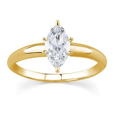 1/3 ct.tw Marquise Diamond Solitaire Ring in 18k Yellow Gold