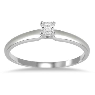 1/10 ct.tw Princess Diamond Solitaire Ring in 14k White Gold