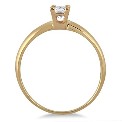 1/7 Carat Princess Diamond Solitaire Ring in 14K Yellow Gold
