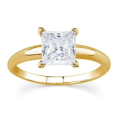 AGS Certified 3/4 Carat Round Diamond Solitaire Ring in 14K Yellow Gold (J-K Color, I2-I3 Clarity)