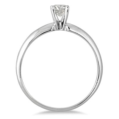 1/10 Carat Round Diamond Solitaire Ring in 14K White Gold (Premium Quality)