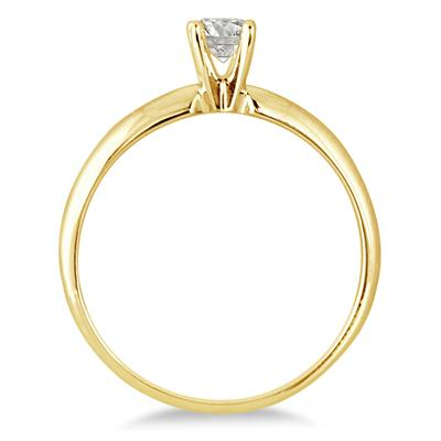 1/7 Carat Round Diamond Solitaire Ring in 14K Yellow Gold (Premium Quality)