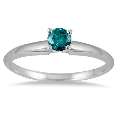 1/4 Carat Round Blue Diamond Solitaire Ring in 14k White Gold